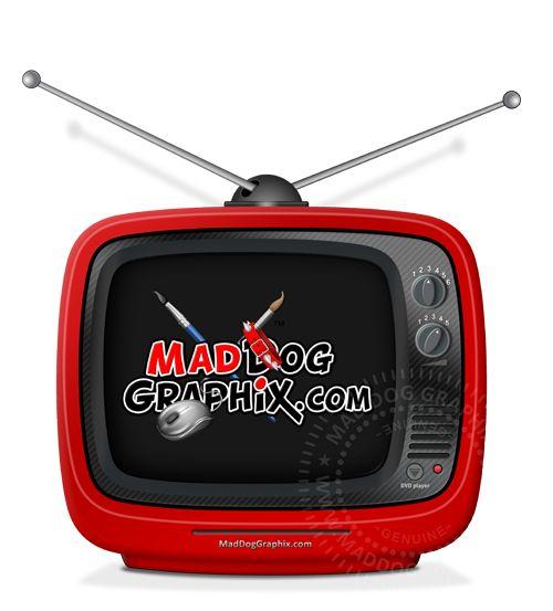 Small plastic portable TV created by MadDogGraphix.com