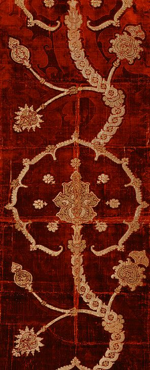 Length of brocaded velvet, 16th century Spanish or Italian Silk velvet brocaded with metal-wrapped thread