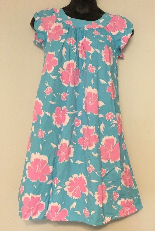 575a50895c Vtg Royal CreatIons Muumuu Dress Size M Teal Pink Floral Patio   RoyalHawaiianCreations