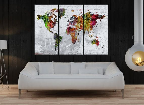 Canvas prints add a unique touch to your home. Modern, stylish and unique design will be the most special piece of your decor. Especially for those who like abstract works, black and white acrylic painting can be prepared in desired sizes  huge Large Push pin world map wall art print, push pin world map canvas print, travel map pin, colorful world map fineart No:7S47  i designed the watercolor map on photoshop. you will receive high resulation canvas print   ◆ GALLERY WRAPPED CANVASES We…