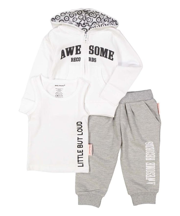 Awesome Records, Little but Loud, infant sweat suit and tank set in white and…
