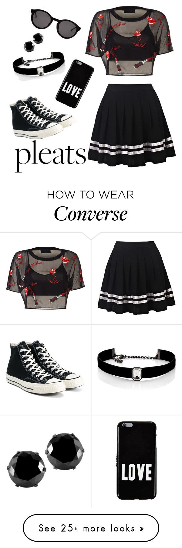"""Pleated skirt"" by chelcy2003 on Polyvore featuring Converse, Thierry Lasry, Givenchy, West Coast Jewelry and Kenneth Jay Lane"