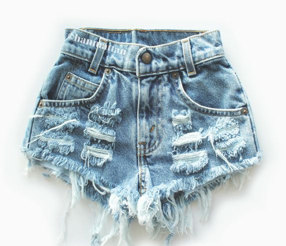 """ALL SIZES """"CHECKER"""" Vintage Levi high-waisted denim shorts blue distressed frayed on Etsy, $26.00 super cute for this summer with a kimono and some docs or sandals"""