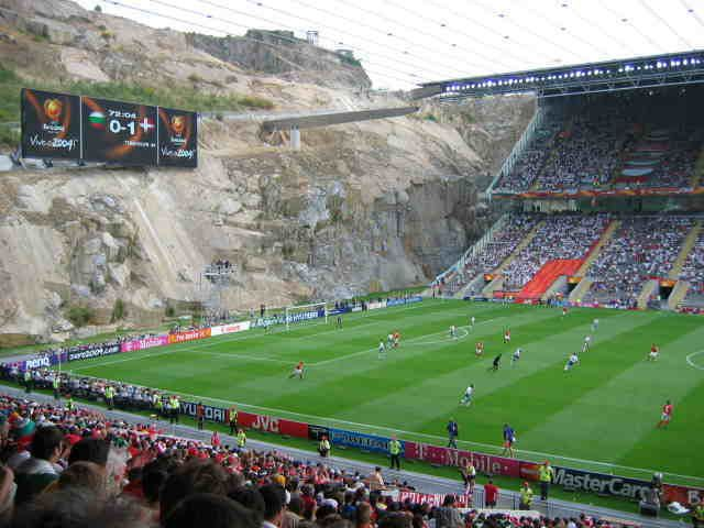 Braga Portugal soccer stadium, actually dug out the rocks to make the field inside the mountain!
