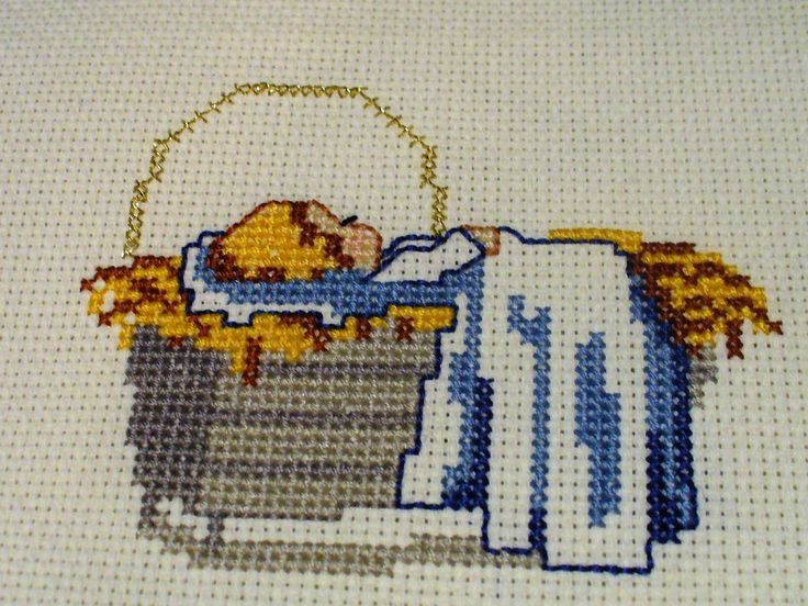 Cross Stitch Baby Jesus In Manger Cross Stitch Christmas