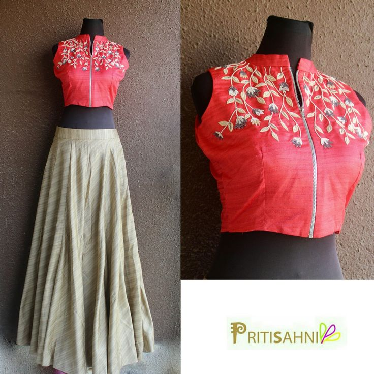 The summer is here... get this breezy look in delicate floral work crop top and tusser skirt For more information DM or write to info@pritisahni.com PritiSahni contemporary croptop summer newcollection style instalove handmade embroidery 16 February 2017
