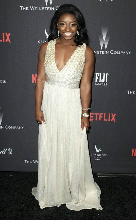 Simone Biles at The Weinstein Company and Netflix Golden Globe Party in January 2017...