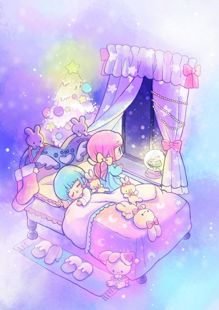 ANiME ART*♡ pastel bed sleeping rabbit bunny