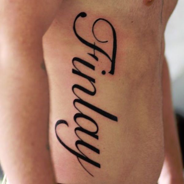 Side Wrist Name Tattoo Designs For Men
