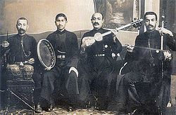 Mugham-Wiki. Over long hist, people of Azerbaijan retained ancient musical tradition. Mugham=a typeof modal music- may derive fr Persian trad music. Uighurs/Xinjiang call it muqam, Uzbeks&Tajiks:maqom, Arabs:maqam, Persians:dastgah. Meta-ethnicity & intricate complexity of it...same term can mean diff things in diff cultures. Genref roots in prayer & lullaby; hundreds varieties, such as songs similar to warchant; dev'd as folklore for palaces. Cross-cultural events led blending singing…