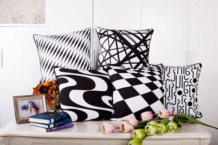 """цена: 685р 18 """" черный квадрат белый геометрический замши чехлы Ikea обычная подушка чехол декоративные подушки бросок для диван дома автомобиль стул HD517 купить на AliExpress"""