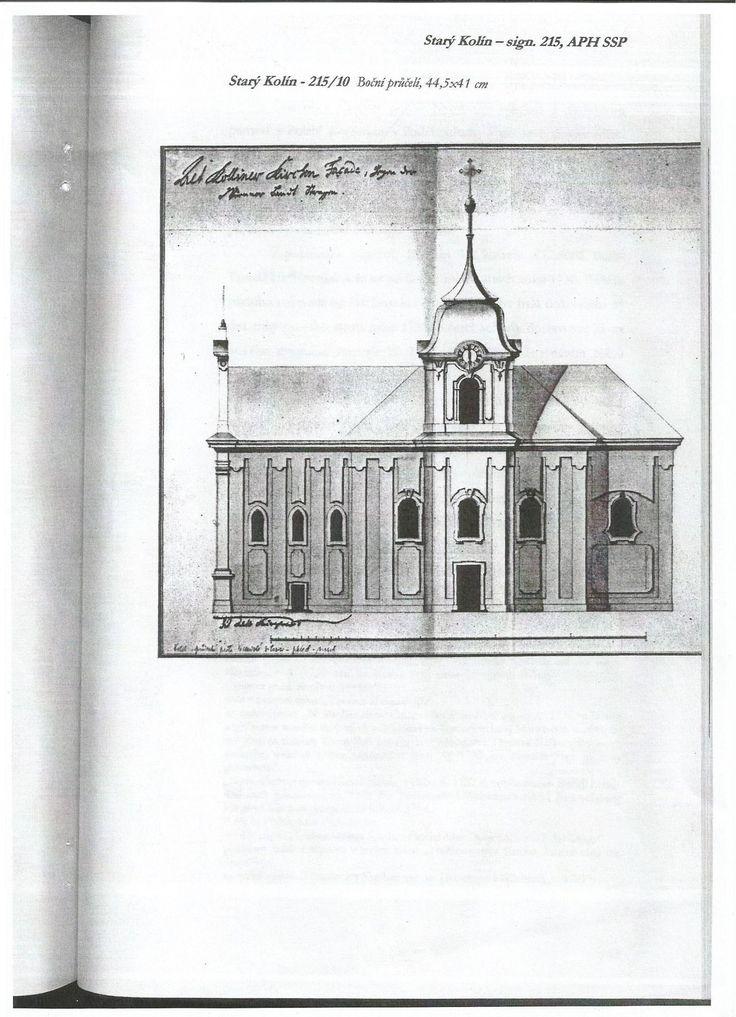 Nerealizovaný návrh barokní přestavby kostela od Tomáše Haffeneckera - Boční průčelí