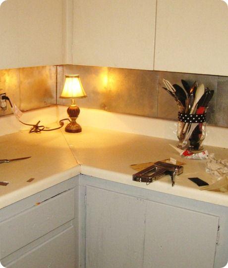 Vinyl Floor Tile Backsplash: DIY Back Splash For Renters! Dollar Store Projects.