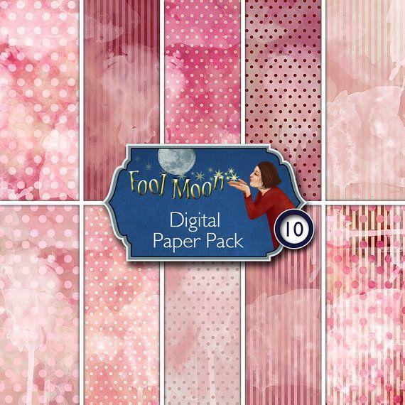 Digital Paper, digital sheet, digital collage sheet, printable scrapbooking, ATC, ACEO, journaling, card making - Watercolor Pack 2