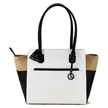 L. Credi Handbag, Taupe/White