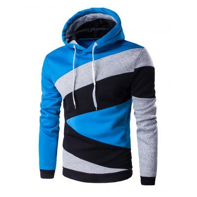 Color Blocks Spliced Long Sleeve Hoodie-15.28 Online Shopping| GearBest.com