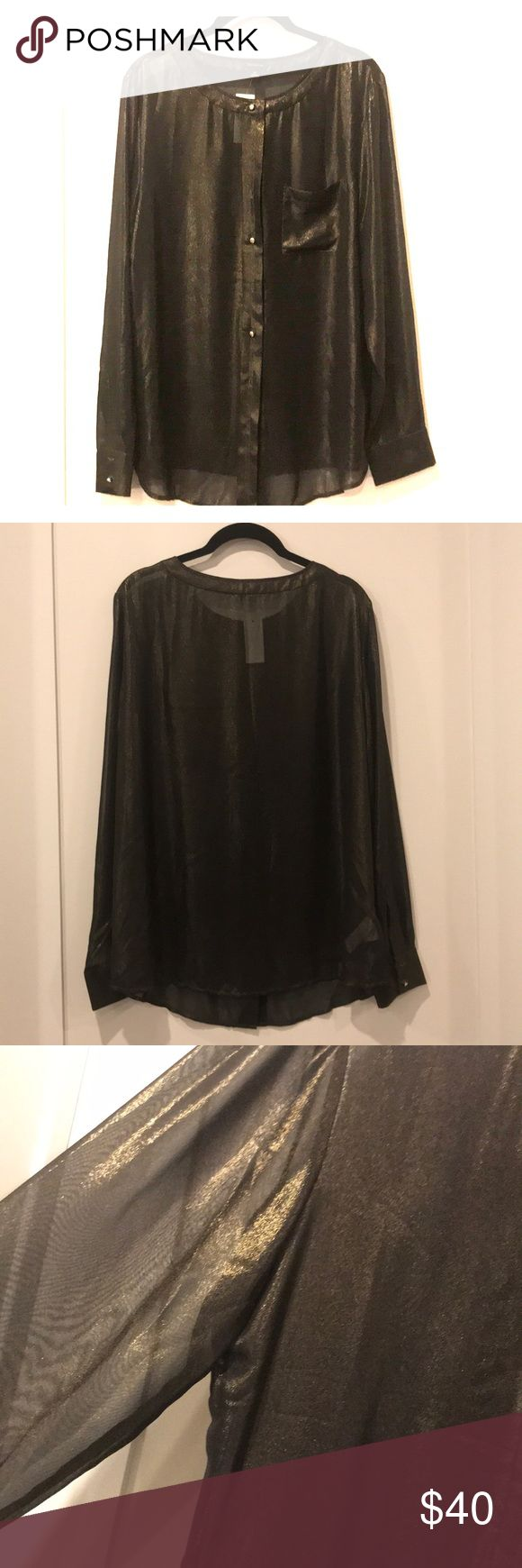 Sheer black & gold button down blouse Sheer, black & gold, button down, long sleeved shimmery blouse. Perfect sparkly blouse for a night out or for the Holidays! NWT. Ann Taylor Tops Blouses