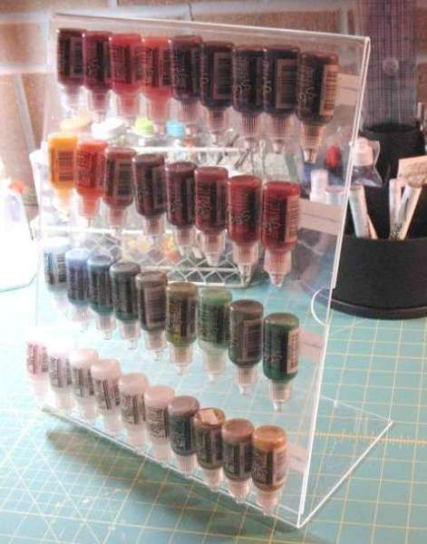 Great storage idea for small bottles like Stickles, paint dabbers, alcohol inks, etc.  Made with 11 x 14 acrylic frame and Velcro.: Acrylics Pictures, Crafts Rooms, Alcohol Ink, Stickl Storage, Paintings Storage, Velcro Dots, Pictures Frames, Storage Ideas, Acrylics Frames