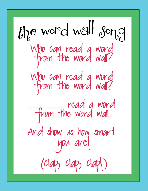 super cute song to go with word wall. I'm a sucker for finding fun way to incorporate word wall!