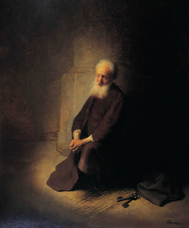 Rembrandt van Rijn, St. Peter in Prison (St. Peter Kneeling), 1631. The magic of chiaroscuro.