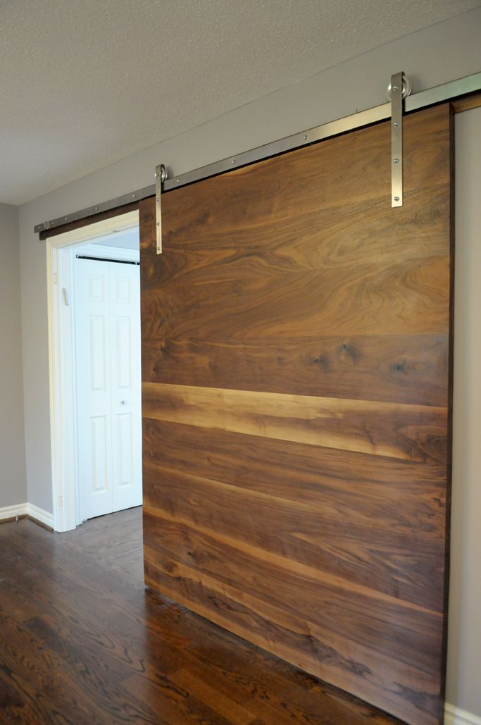Walnut slab barn door doors pinterest doors barn for Diy interior door designs