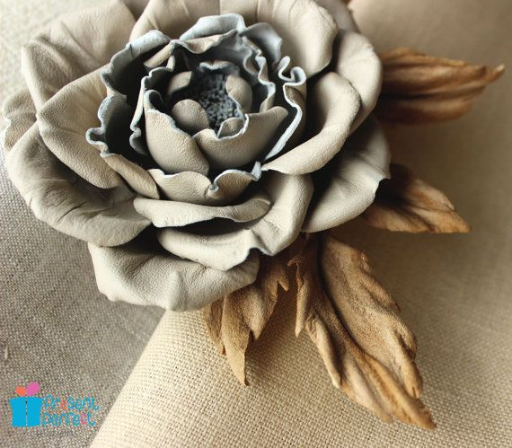 Beige leather rose, leather roses, leather rose flower