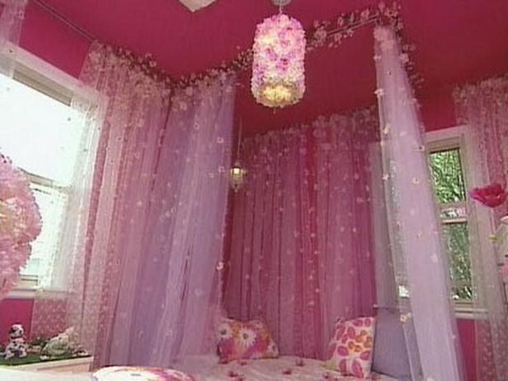Bedroom, : Charming DIY Canopy Bed Decoration Design With Cute Pink Sheer  Drapes