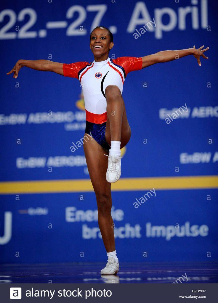 Chrystelle Alcan, France, 10. Aerobic Gymnastics World Championship, Ulm, Baden-Wuerttemberg, Germany, Europe Stock Photo