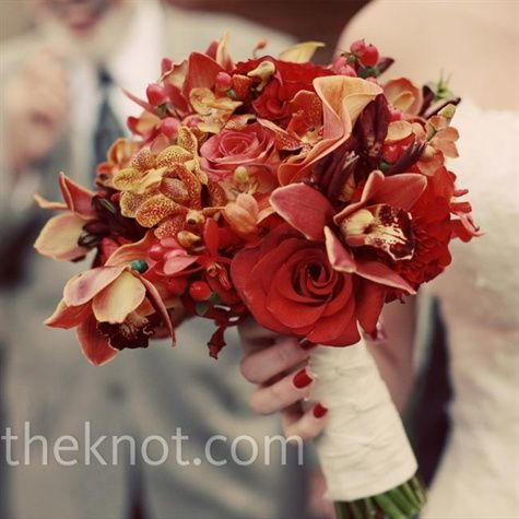 Red Wedding Bouquet: Calla Lilies, Color, Wedding Ideas, Weddings, Wedding Flowers, Cymbidium Orchids, Flower Ideas, Red Wedding Bouquets