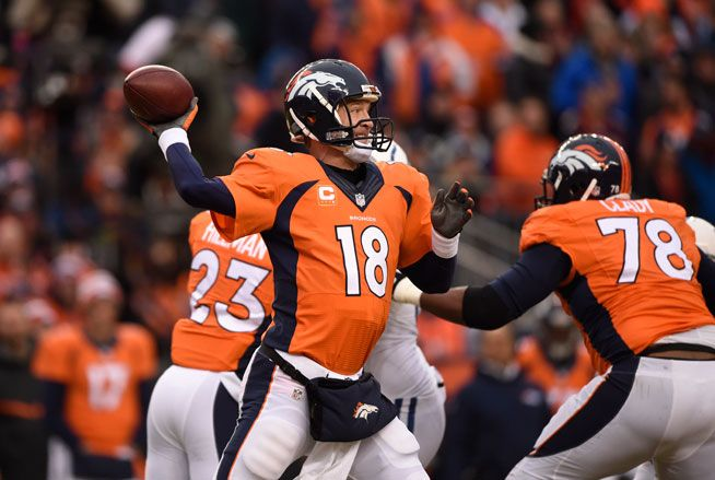 Peyton Manning (18) of the Denver Broncos throws a pass in the first quarter. The Denver Broncos played the Indianapolis Colts in an AFC divisional playoff