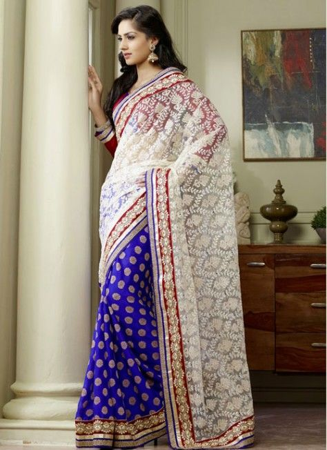 #Ivory & #Blue Fabulous #Saree With Lace Work