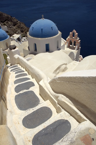 Cliffside stairs in Santorini.