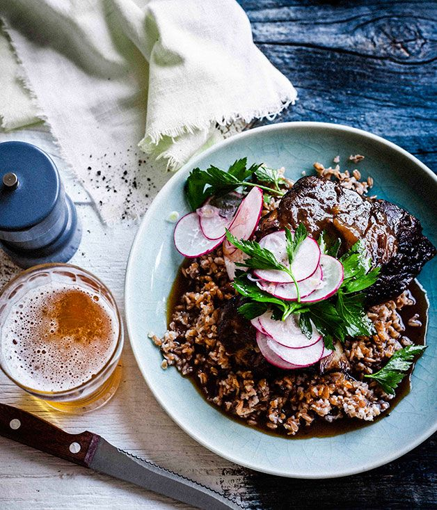 Beer Brown Sugar-Glazed Beef Short Ribs with Farro Salad and Shaved Radish and Golden Shallot