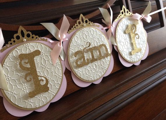 Princess 1st Year Birthday Banner Pink and Gold