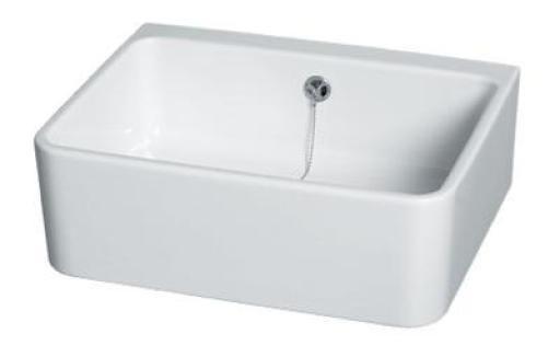 Gustavsberg utslagsvask 50x40x17 cm, hvit porselen m/overløp 1660,-