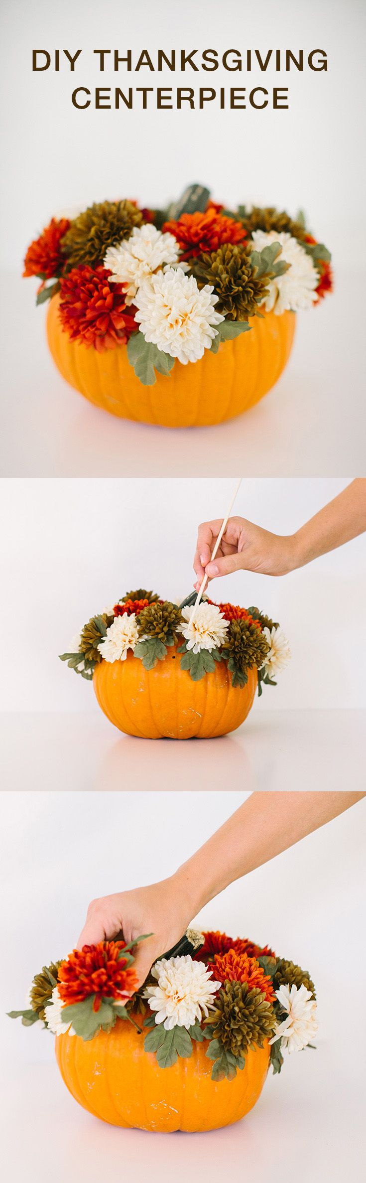 An easy centerpiece using your old halloween pumpkins for Diy thanksgiving floral centerpieces