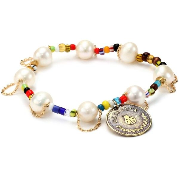 """Mercedes Salazar """"Multicharms"""" Lady Bug Coin with Adjustable Pearls and African Beads Bracelet ($48) found on Polyvore"""