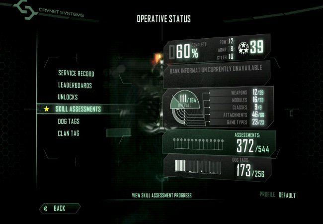Crysis 3 - game menu user interface UI