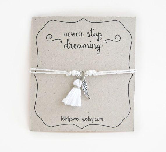Angel wing bracelet inspirational bracelet with por LeiniJewelry
