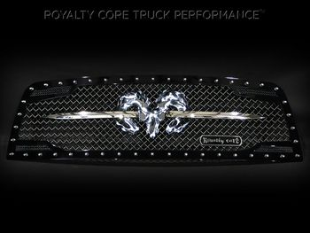 Dodge Ram 1500 2009-2012 RC2 Grille Twin Mesh w/ Speared Ram Sword Assembly