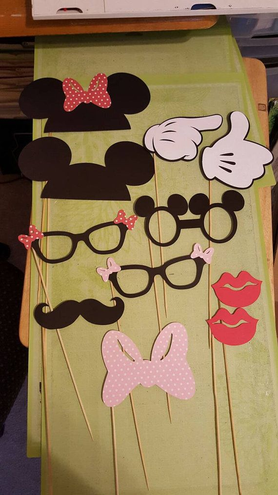 11 piece MICKEY MINNIE PHOTO BOoTH props Ears Minnie Goofy Donald Daisy Mustache Hat Bow tie Pluto Bone wedding, birthday, baby shower