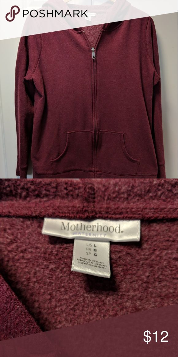 Motherhood Maternity zipper hoodie Size large Motherhood Maternity maroon zip up hoodie, previously used but in good condition, smoke and pet free home Motherhood Maternity Other