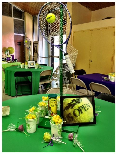 Tennis themed centerpieces