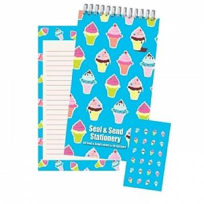 Ice Cream Cone Fold and Seal Camp Stationery. Comes with fun stickers. http://gottagreatgift.com/shop/camp/stationery-and-postcards/stationery-and-pads-from-camp/girls-camp-stationery/ice-cream-cones-seal-and-send-stationery.html