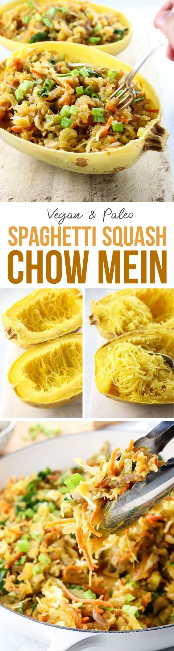 """Spaghetti Squash Chow Mein makes an easy vegan or vegetarian dinner. It's made with low-carb """"noodles"""" making it perfect for gluten-free, grain-free, and paleo diets. Feel free to add your favorite protein to customize it!  via @detoxinistagmail.com"""