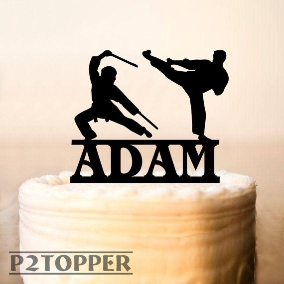 cake banner Personalized with age or name. Karate//Ninja party cake topper
