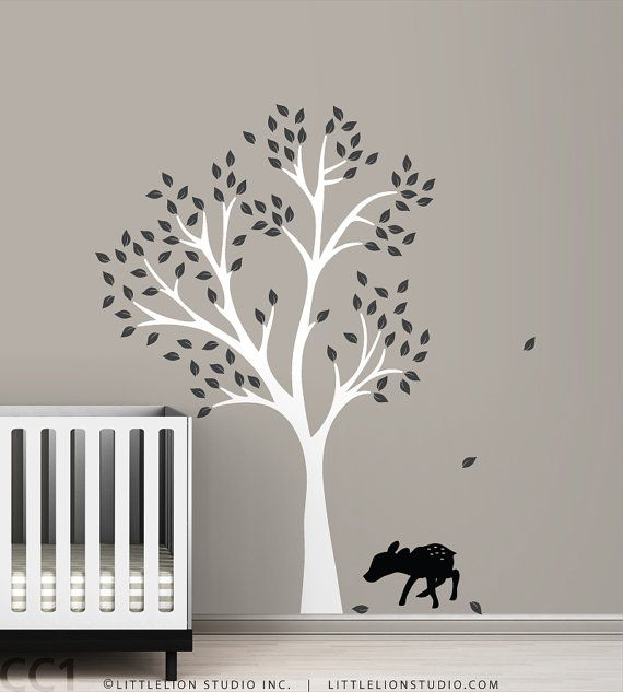 Attractive Fawn Tree Wall Decal   Black Fawn   Black Kids Room   Classic Baby Decor    White, Black And More Colors