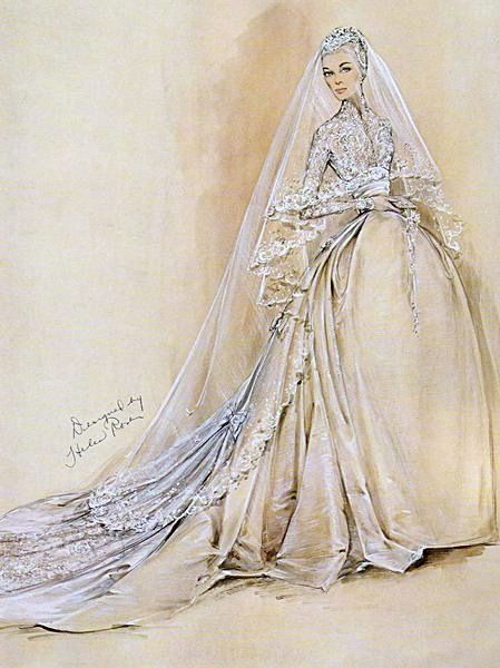 Grace Kelly's wedding dress sketch   This sketch of the gown was drawn by Helen Rose . The design of the dress was carefully guarded in the two months leading up to the wedding. It never left the fitting room,  the workspace was enclosed in partitions so no-one could catch a glimpse, and the dress was locked away every night.