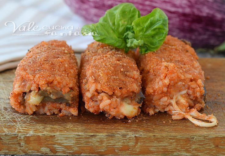 Involtini di riso con melanzane ricetta gustosa, profumata, ideale per un antipasto e aperitivo, oppure come piatto unico, facile e sfiziosa.