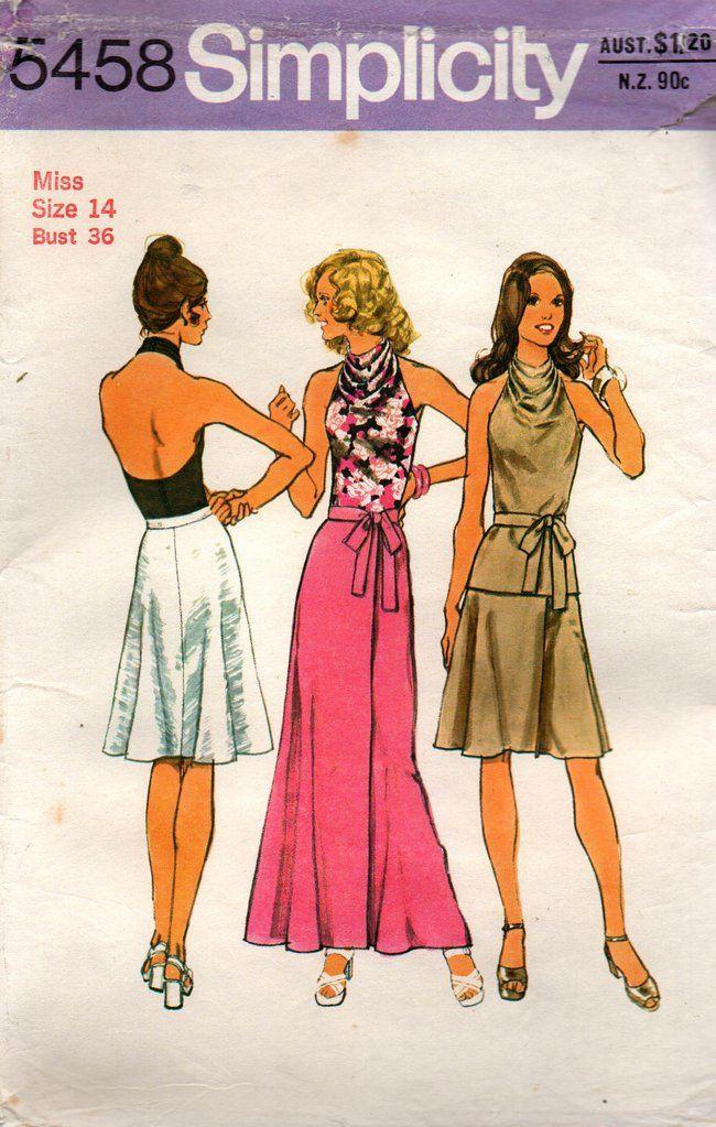 Simplicity 5458 Womens Cowl Halter Neck Top & Bias Wrap Skirt 70s ...